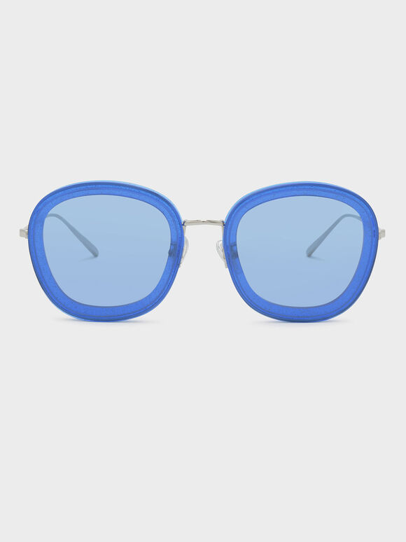 Acetate Frame Sunglasses, Blue, hi-res