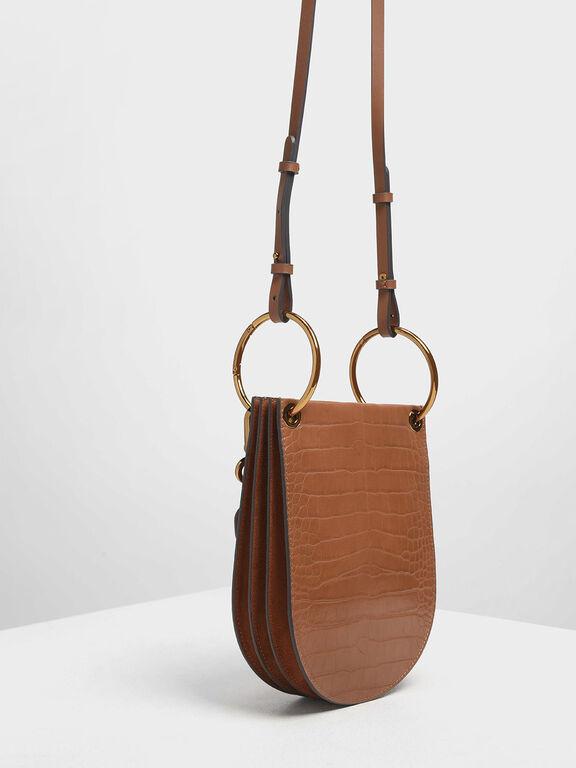 Croc-Effect Chunky Chain Handle U-Shaped Bag, Tan