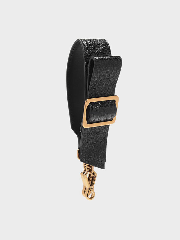 Buckled Bow Detail Mini Strap, Black, hi-res