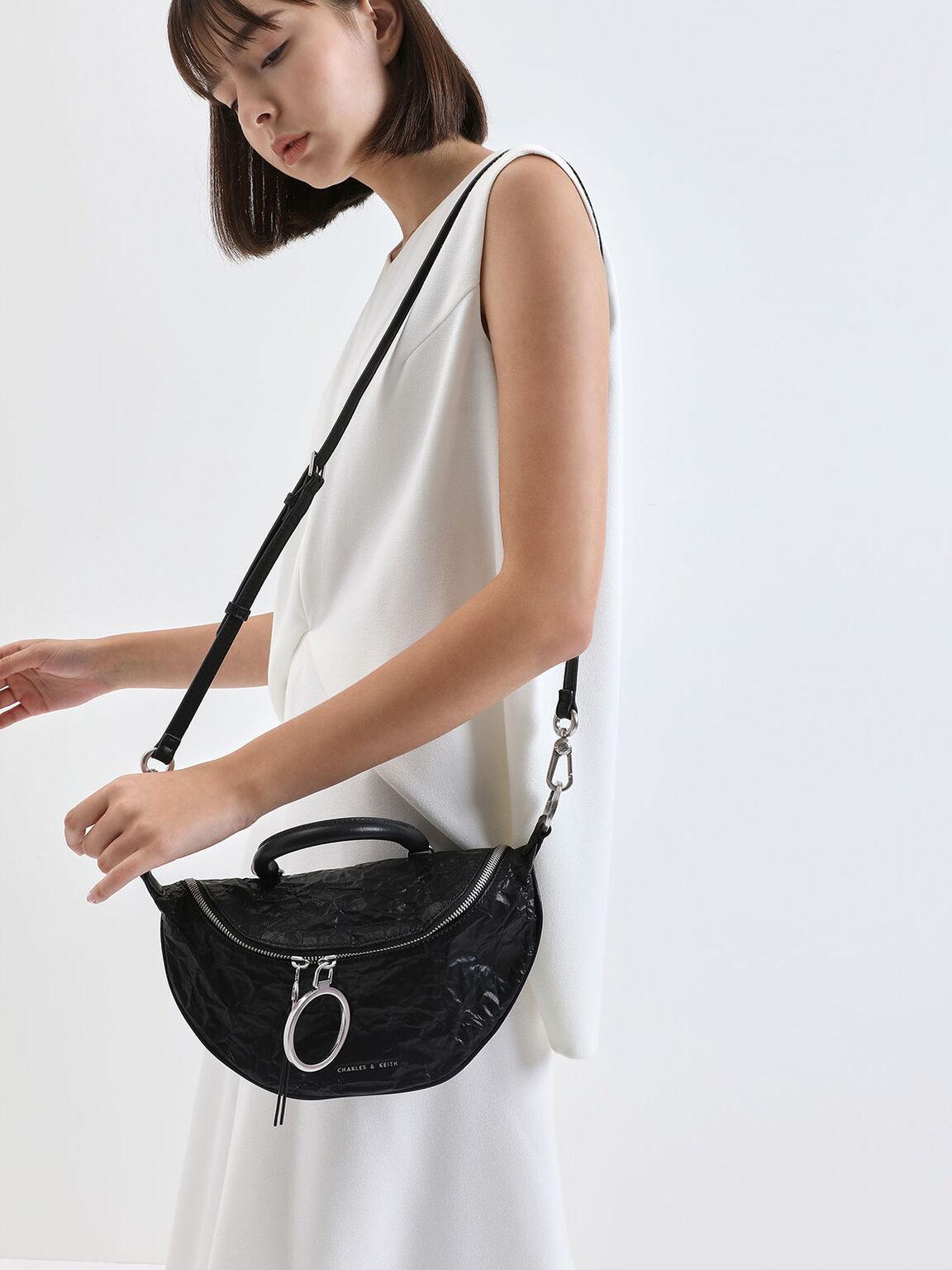 Wrinkled Effect Semi-Circle Crossbody Bag, Black, hi-res