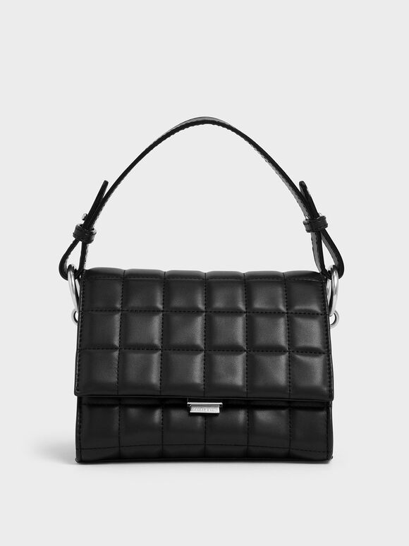Quilted Push Lock Handbag, Black, hi-res