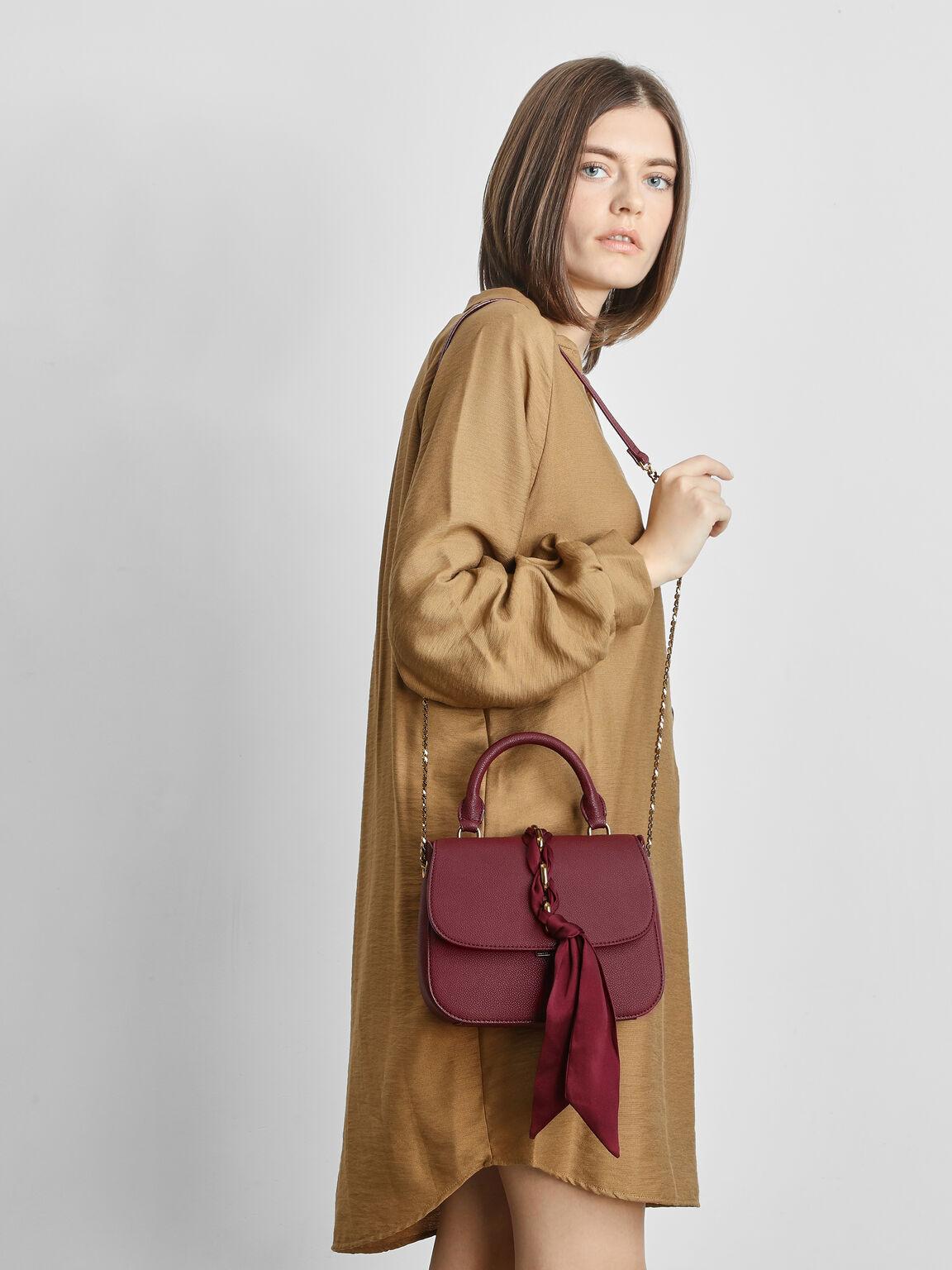 Braided Front Flap Bag, Prune, hi-res