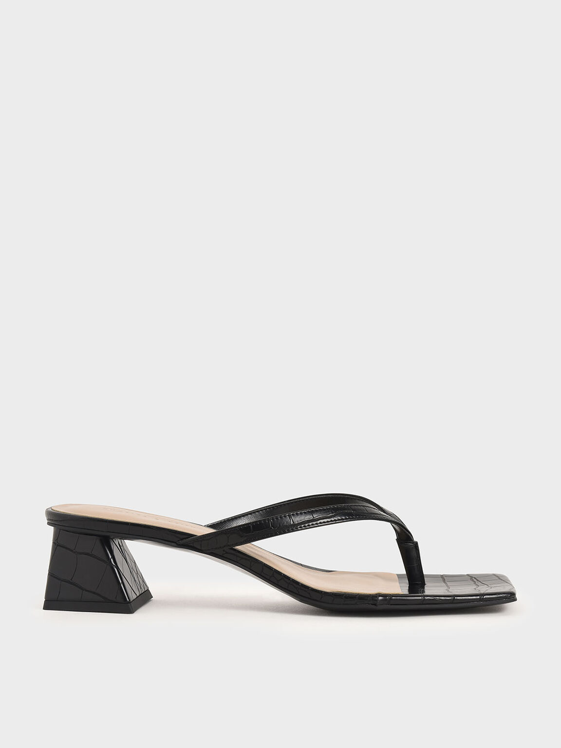 Croc-Effect Thong Heeled Sandals, Black, hi-res