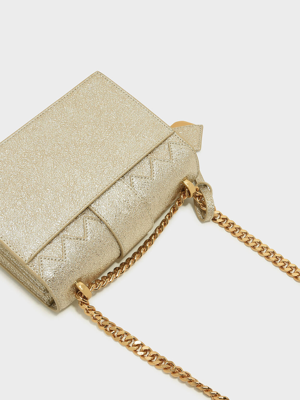 Front Flap Chain Strap Crossbody Bag, Gold, hi-res