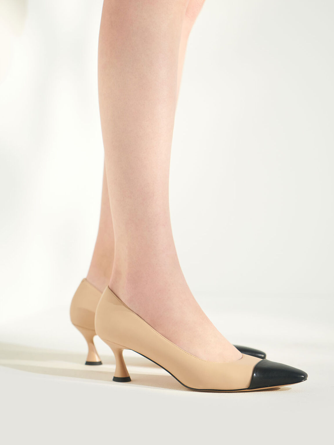 Spool Heel Toe Cap Pumps, Nude, hi-res