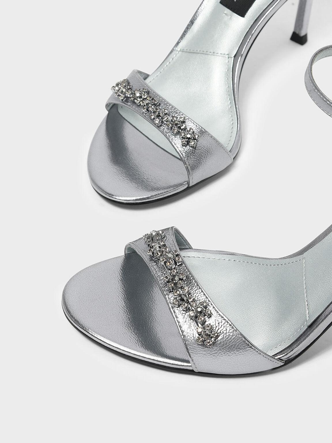 Floral Embellishment Leather Heeled Sandals, Pewter, hi-res