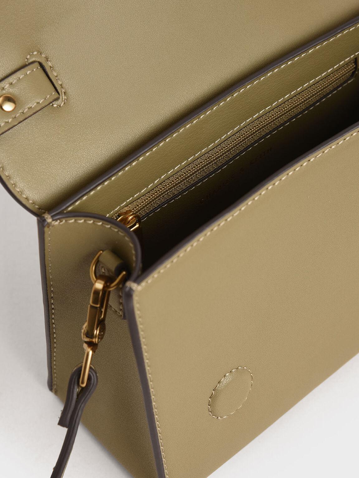 Bow Top Handle Bag, Khaki, hi-res