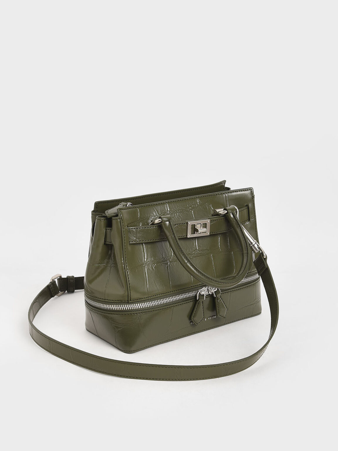 Croc-Effect Two-Way Zip Tote, Olive, hi-res