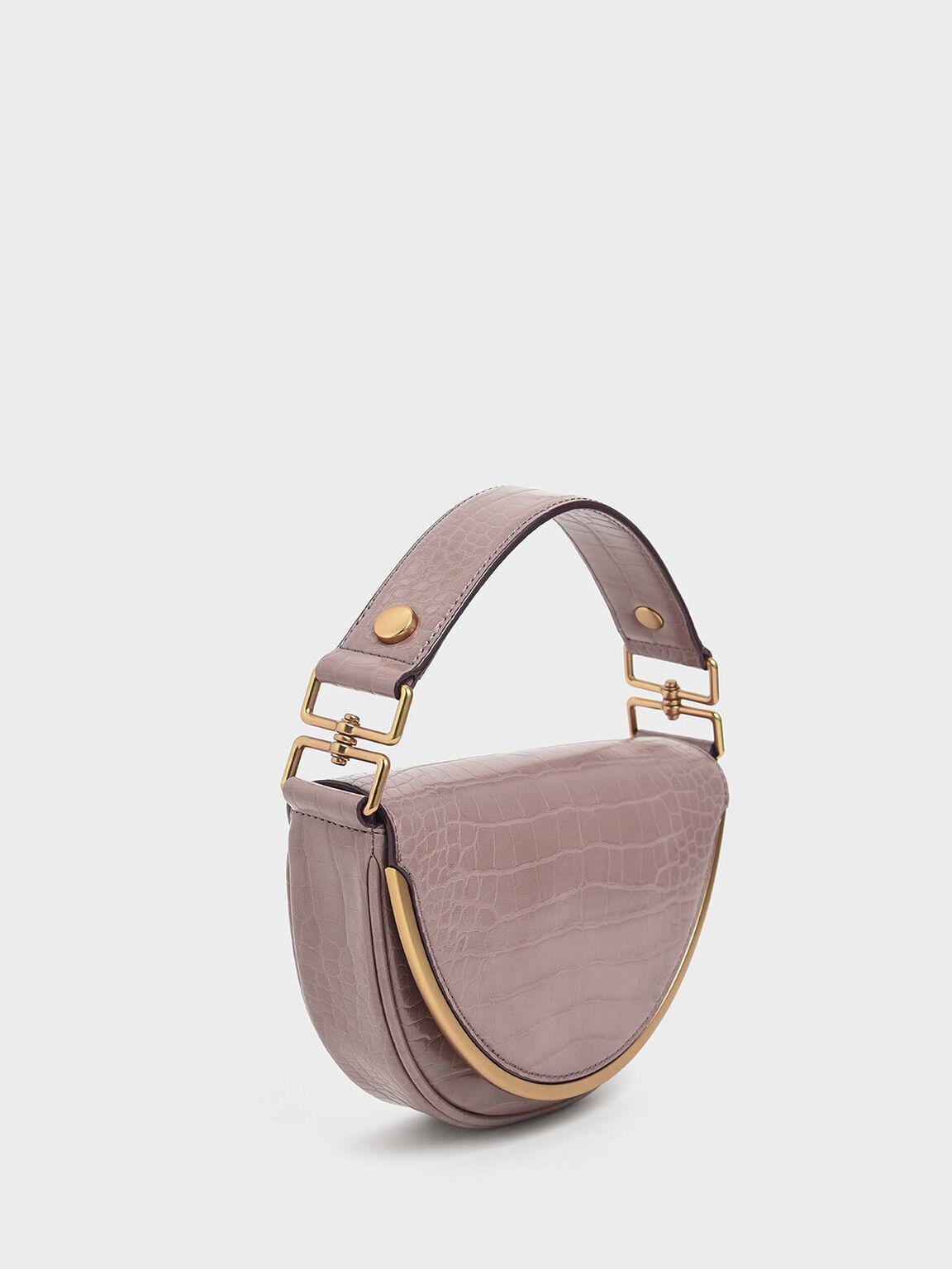 Croc-Effect Top Handle Semi-Circle Bag, Mauve, hi-res