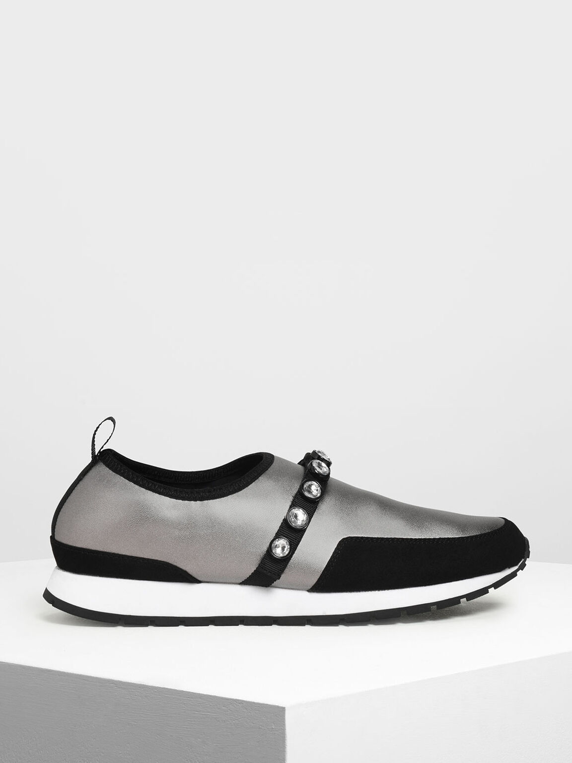 Embellished Slip-On Sneakers, Silver, hi-res