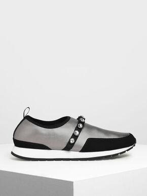 Embellished Slip-On Sneakers, Silver