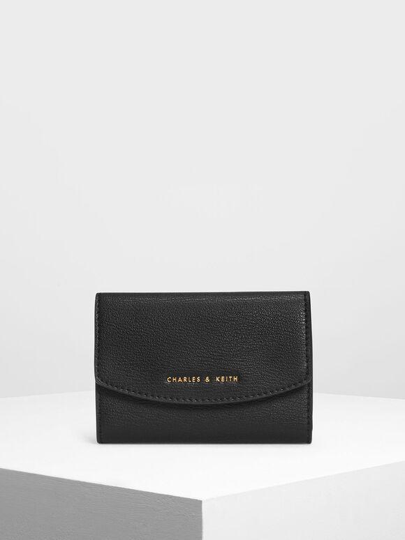 Single Flap Mini Wallet, Black, hi-res