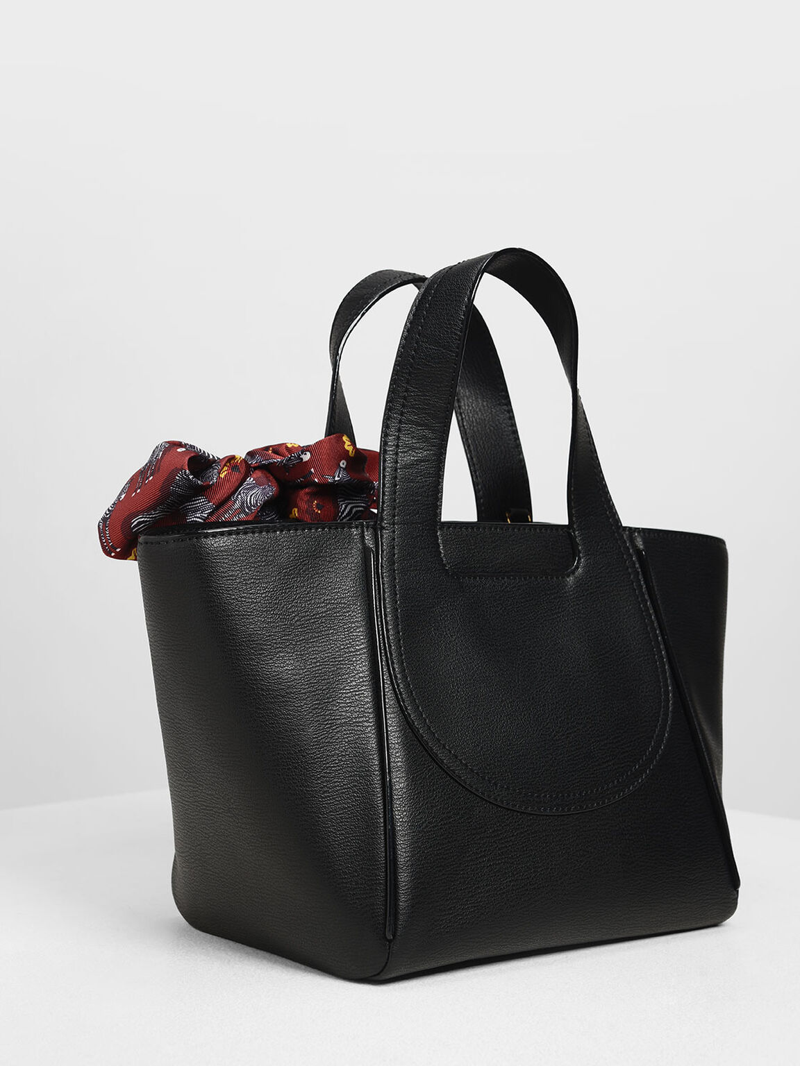 Printed Bow Trapeze Bag, Black, hi-res