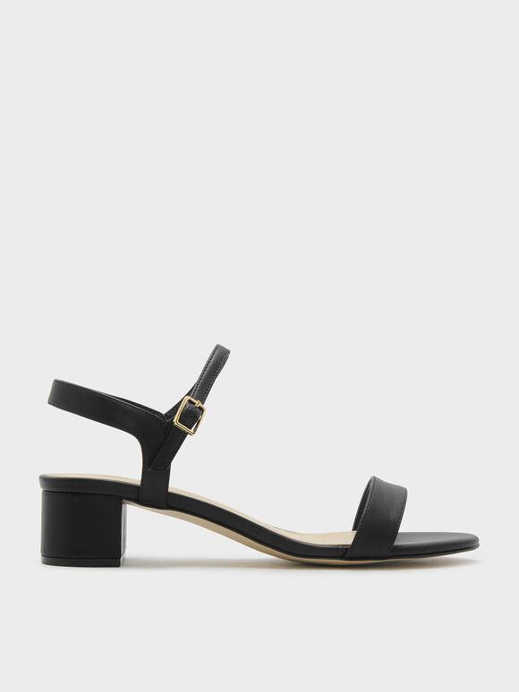 Basic Open-Toe Sandals, Black, hi-res