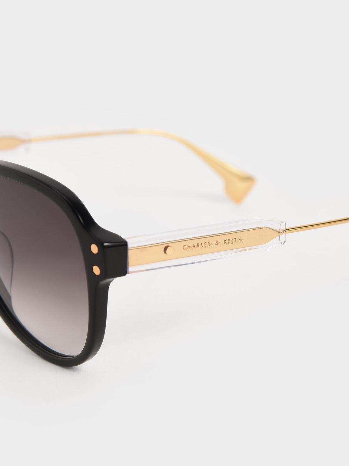 Acetate Aviator Sunglasses, Black, hi-res