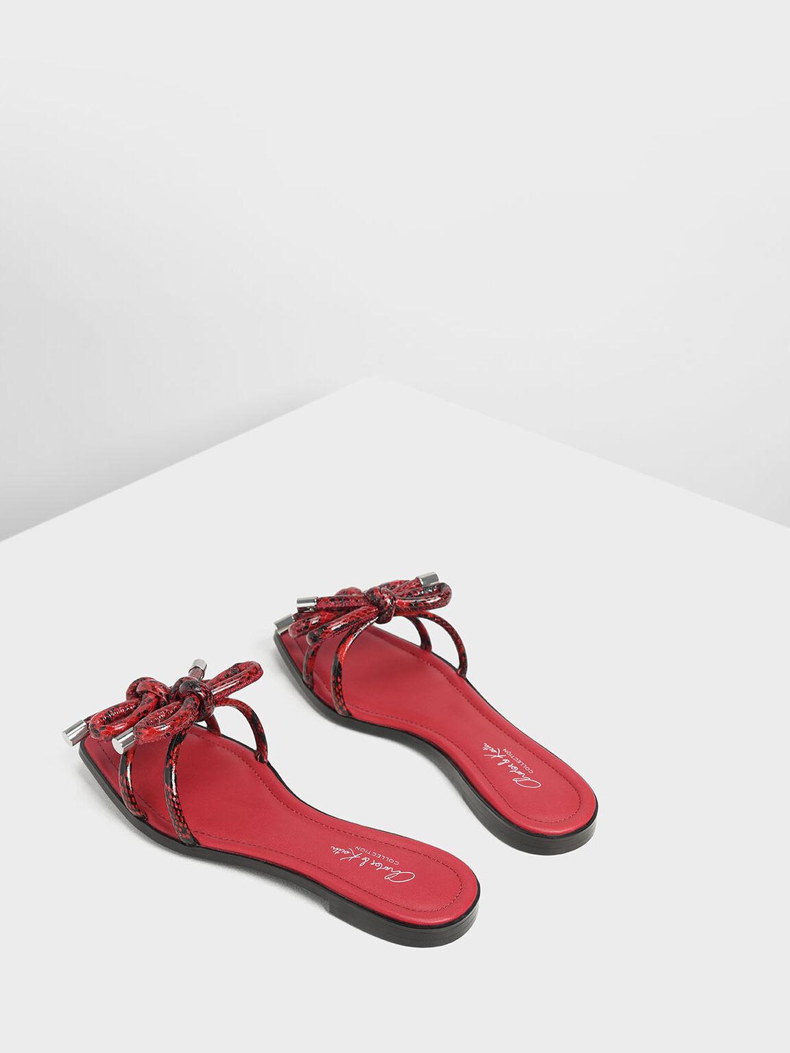 Snake Print Double Bow Slide Sandals, Red, hi-res
