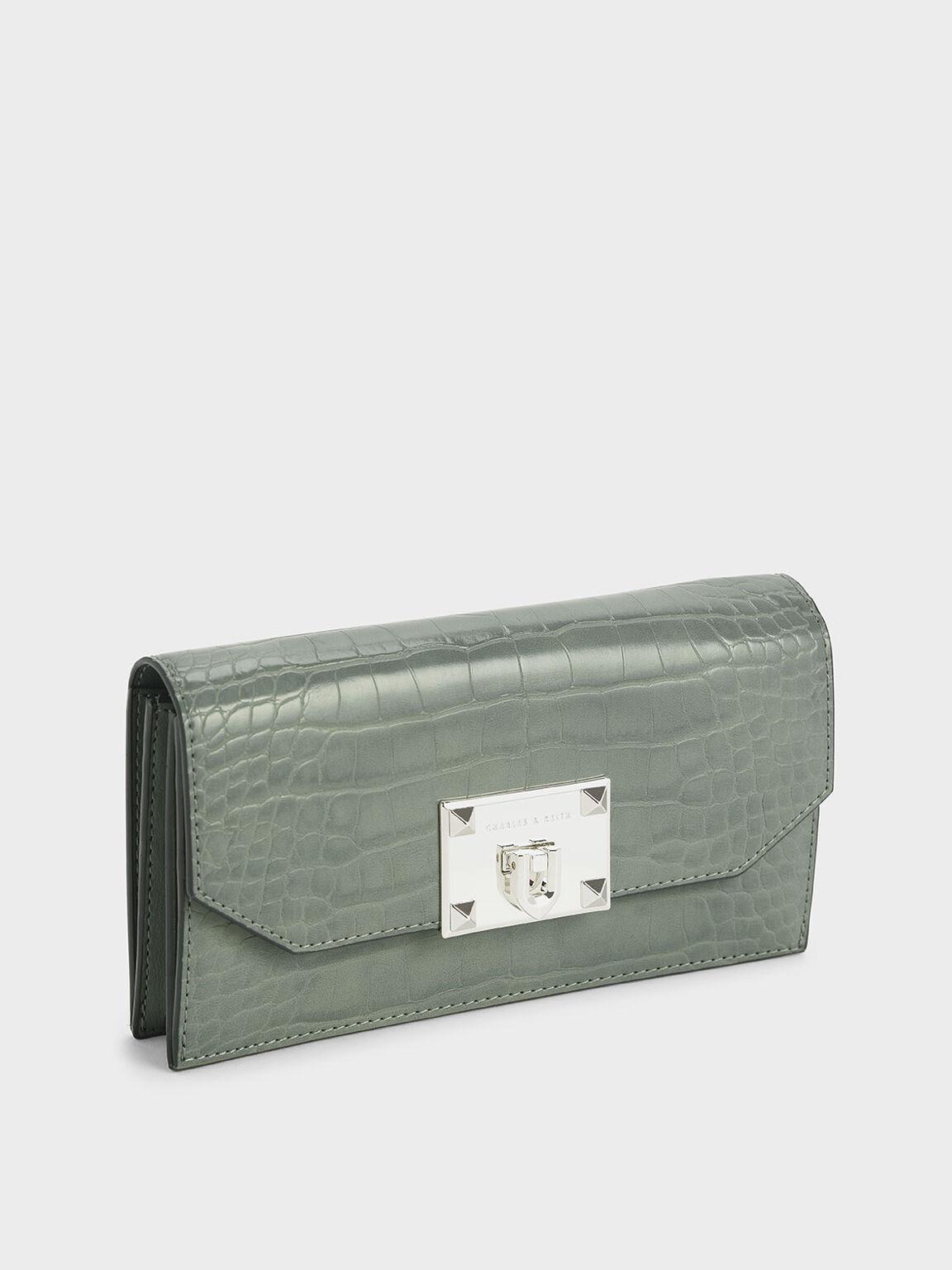 Croc-Effect Push Lock Flap Wallet, Sage Green, hi-res