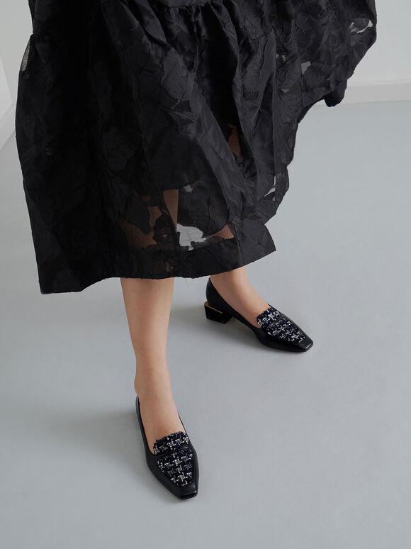 毛呢微方頭樂福鞋, 深藍色, hi-res