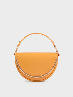 Top Handle Semi-Circle Bag, Mustard