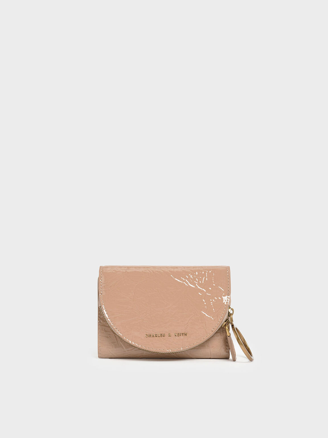 Wrinkled Patent Ring Zip Flap Mini Wallet, Beige, hi-res