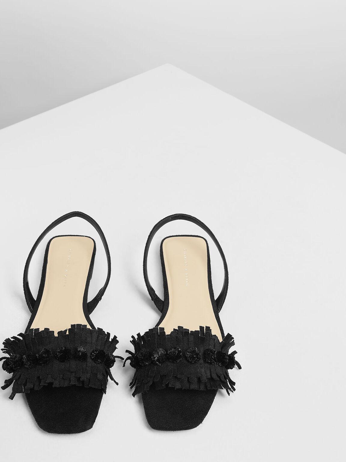 Fringed Pom Pom Sandals, Black, hi-res