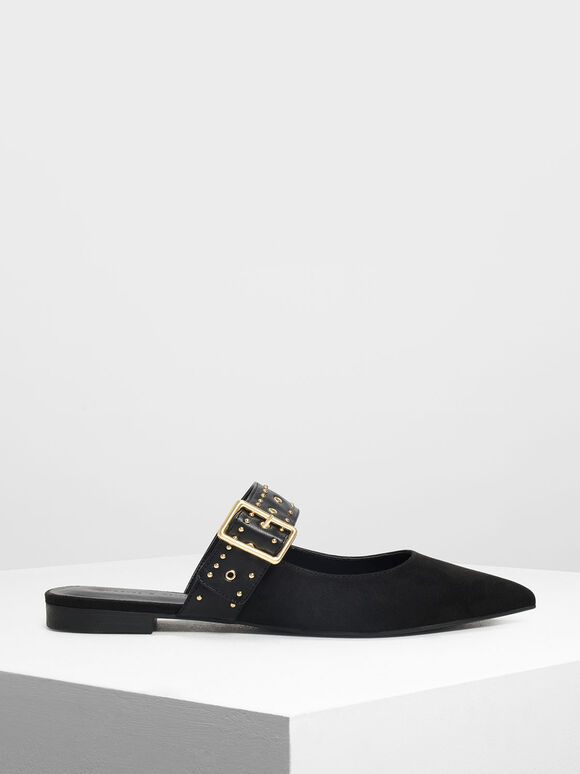 Studded Buckle Mules, Black, hi-res
