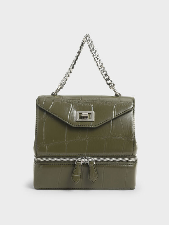 Croc-Effect Two-Way Zip Handbag, Olive, hi-res