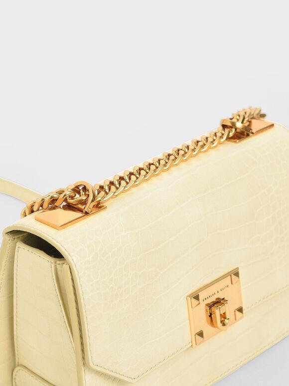 Croc-Effect Chain Strap Crossbody Bag, Yellow, hi-res