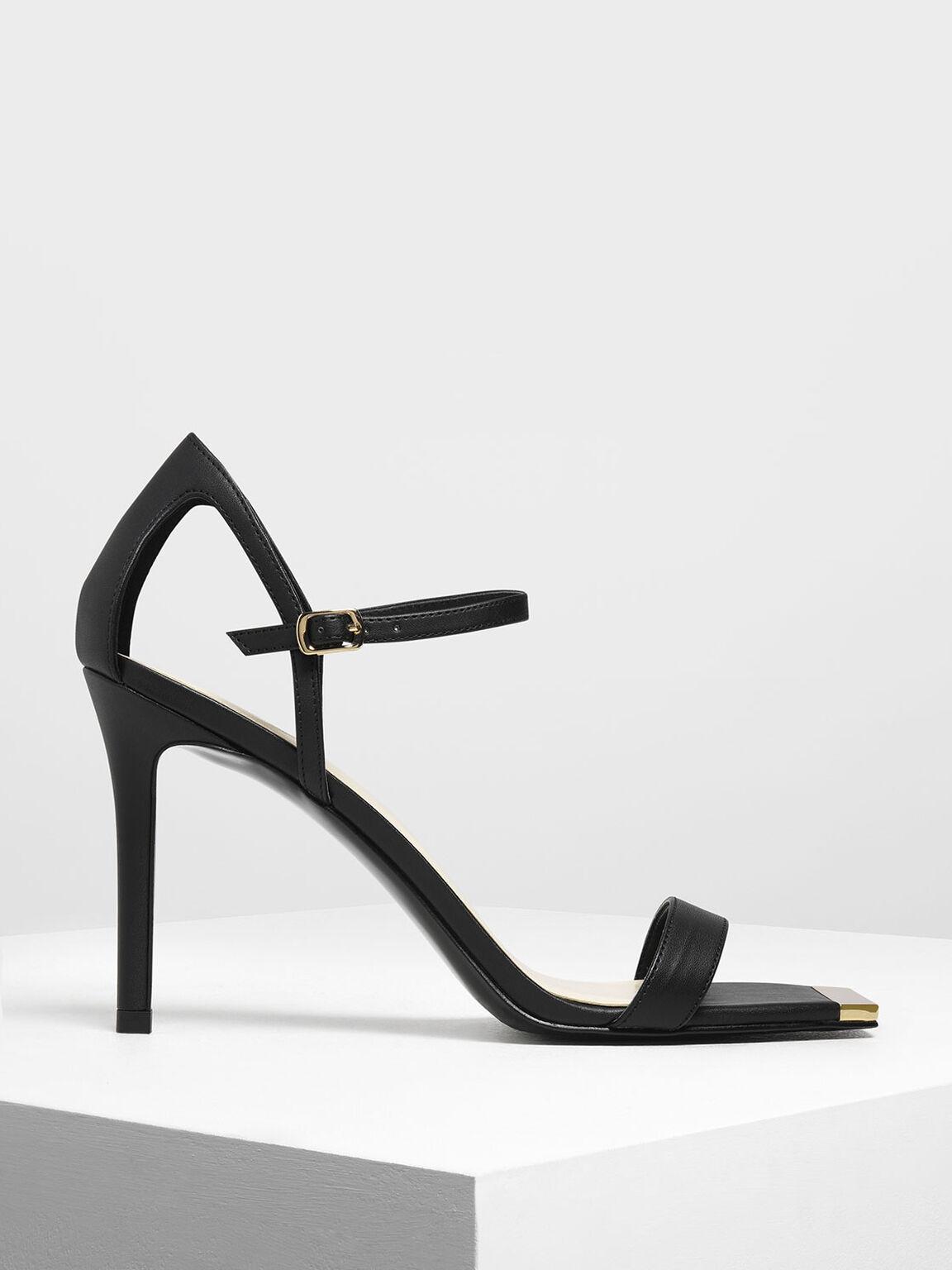 Square Toe Gold Detail Sandals, Black, hi-res