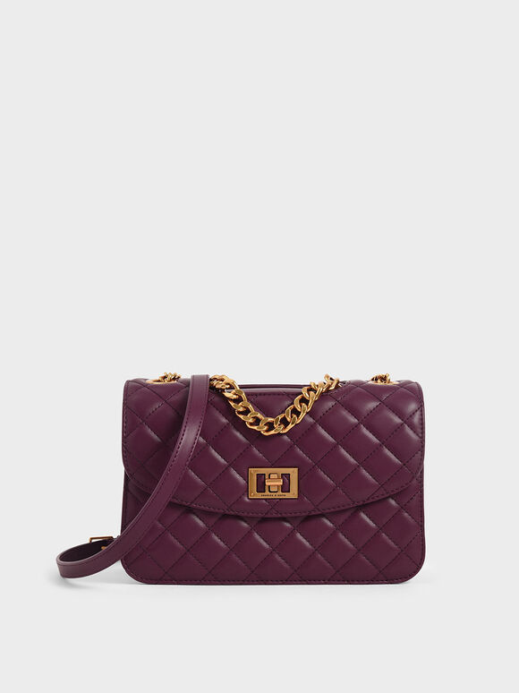Quilted Turn-Lock Clutch, Purple, hi-res