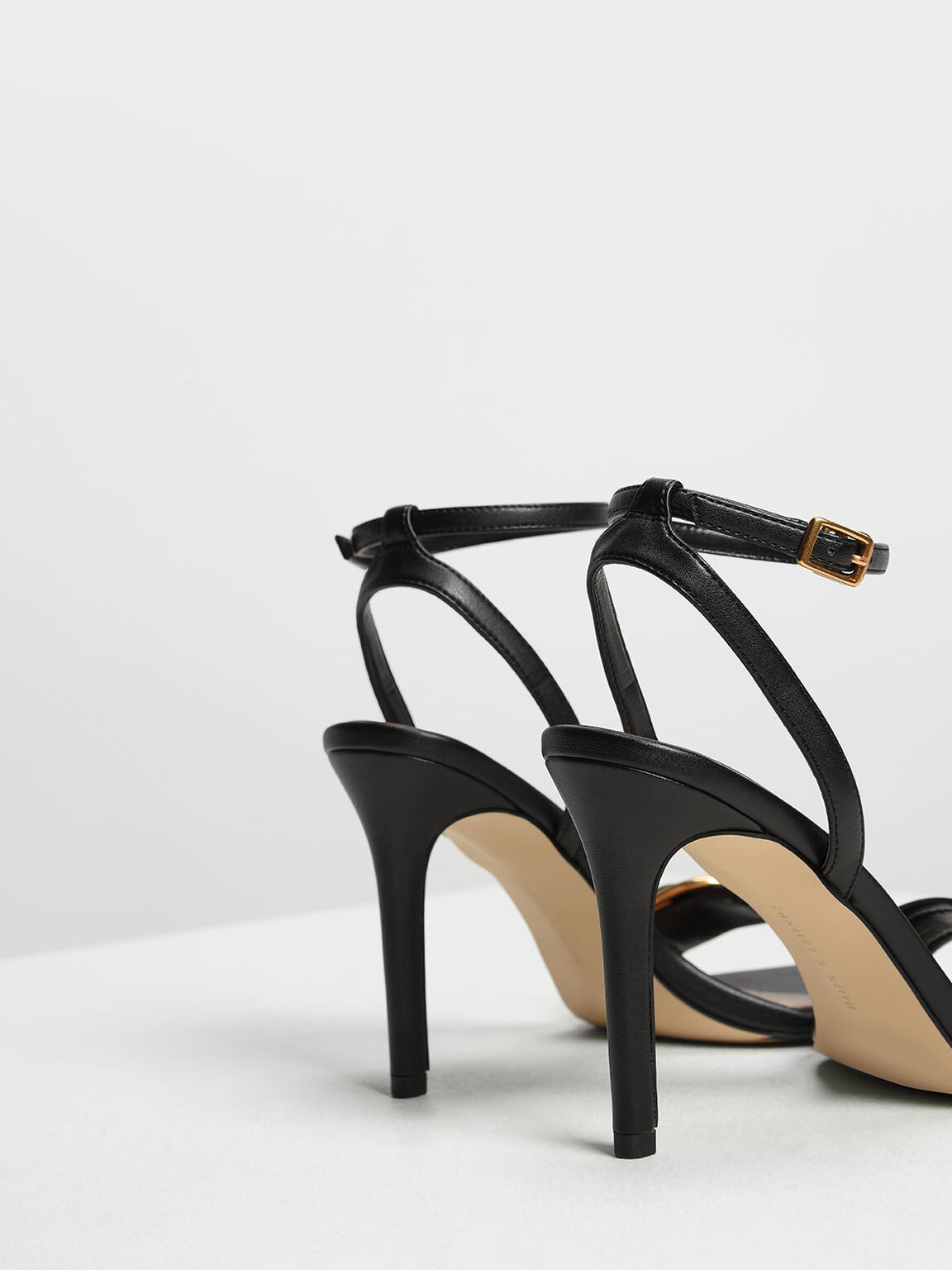 Buckle Ankle Strap Heels, Black, hi-res
