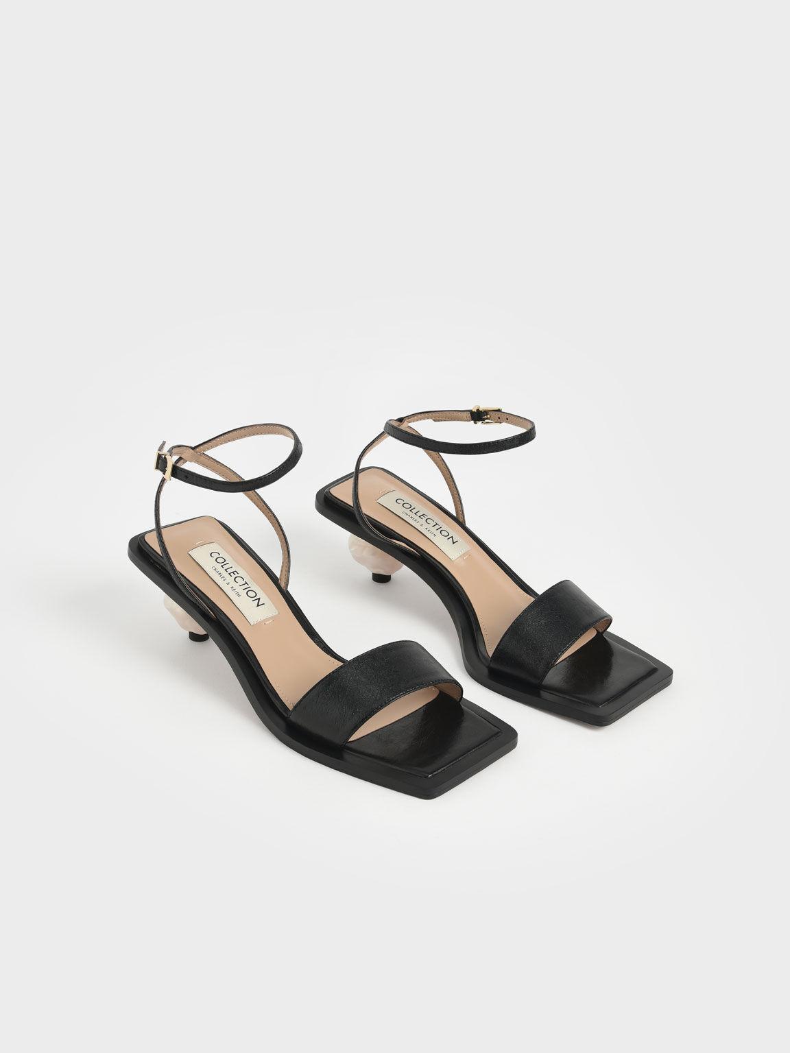 Sculptural Heel Sandals (Kid Leather), Black, hi-res