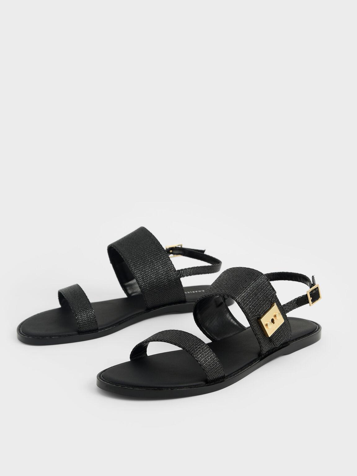 Raffia Metallic Buckle Sandals, Black Textured, hi-res