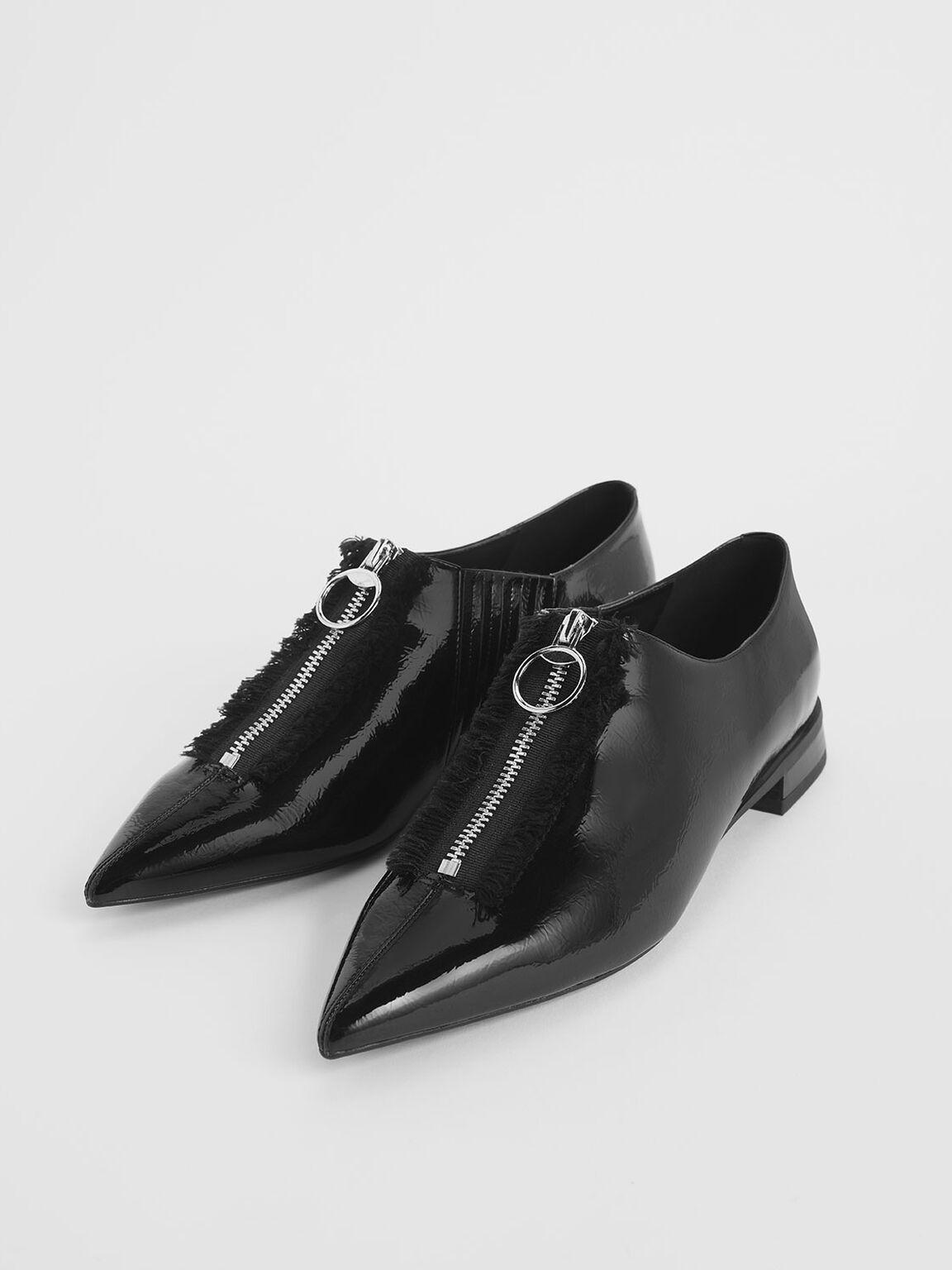 Wrinkled Patent Frayed Zip Front Loafers, Black, hi-res
