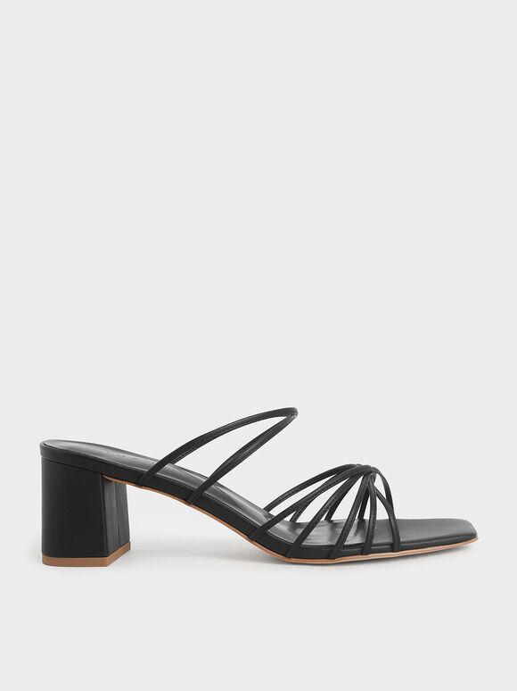 細帶扭結拖鞋, 黑色, hi-res