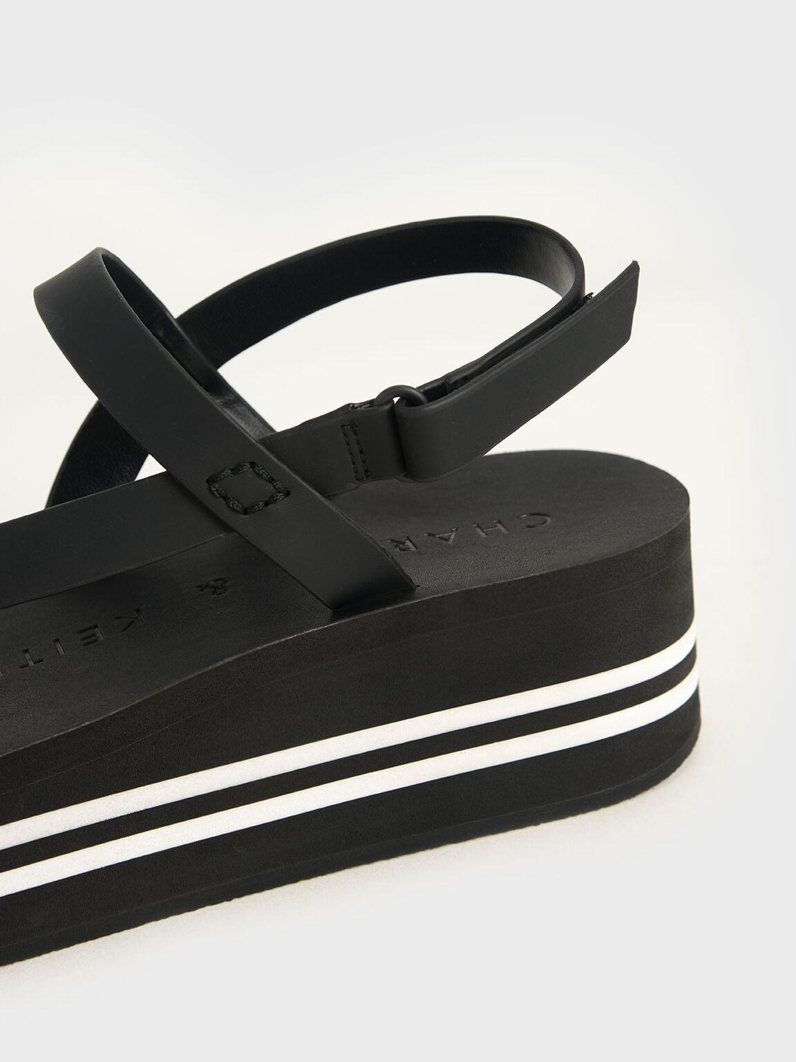 Velcro Strap Flatforms, Black, hi-res