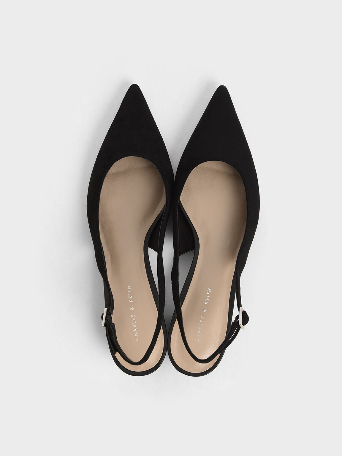 Textured Pointed Toe Slingback Heels, Black, hi-res