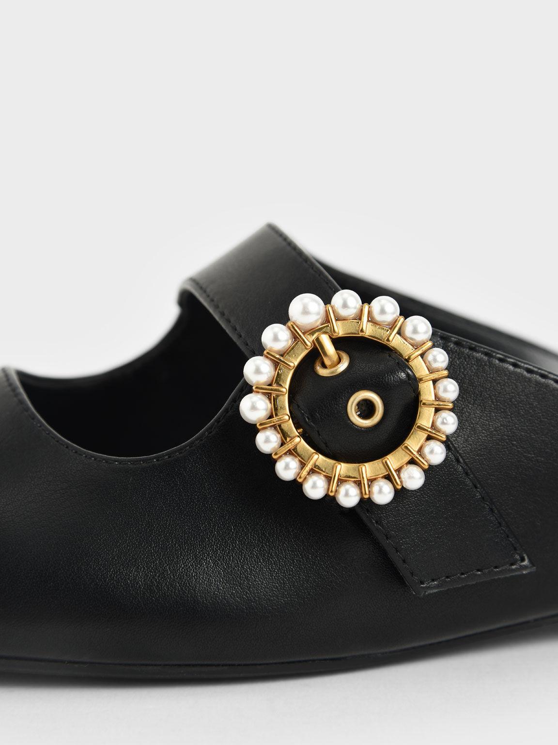 珍珠釦平底穆勒鞋, 黑色, hi-res