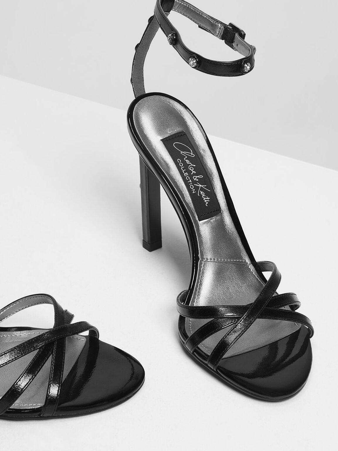 Gem Embellishment Leather Heeled Sandals, Black, hi-res