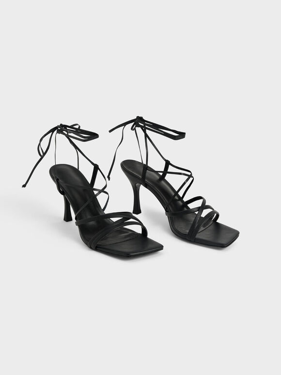 Tie-Around Strappy Sandals, Black, hi-res