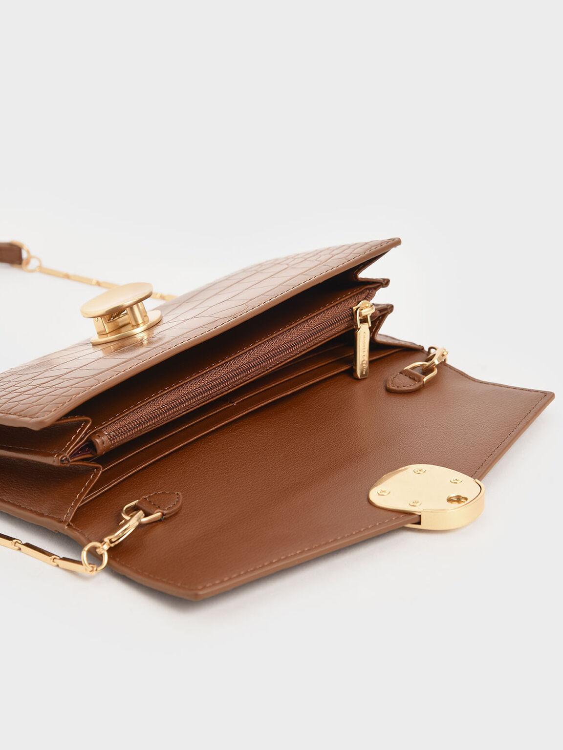 Mini Croc-Effect Metal Push Lock Wallet, Dark Brown, hi-res