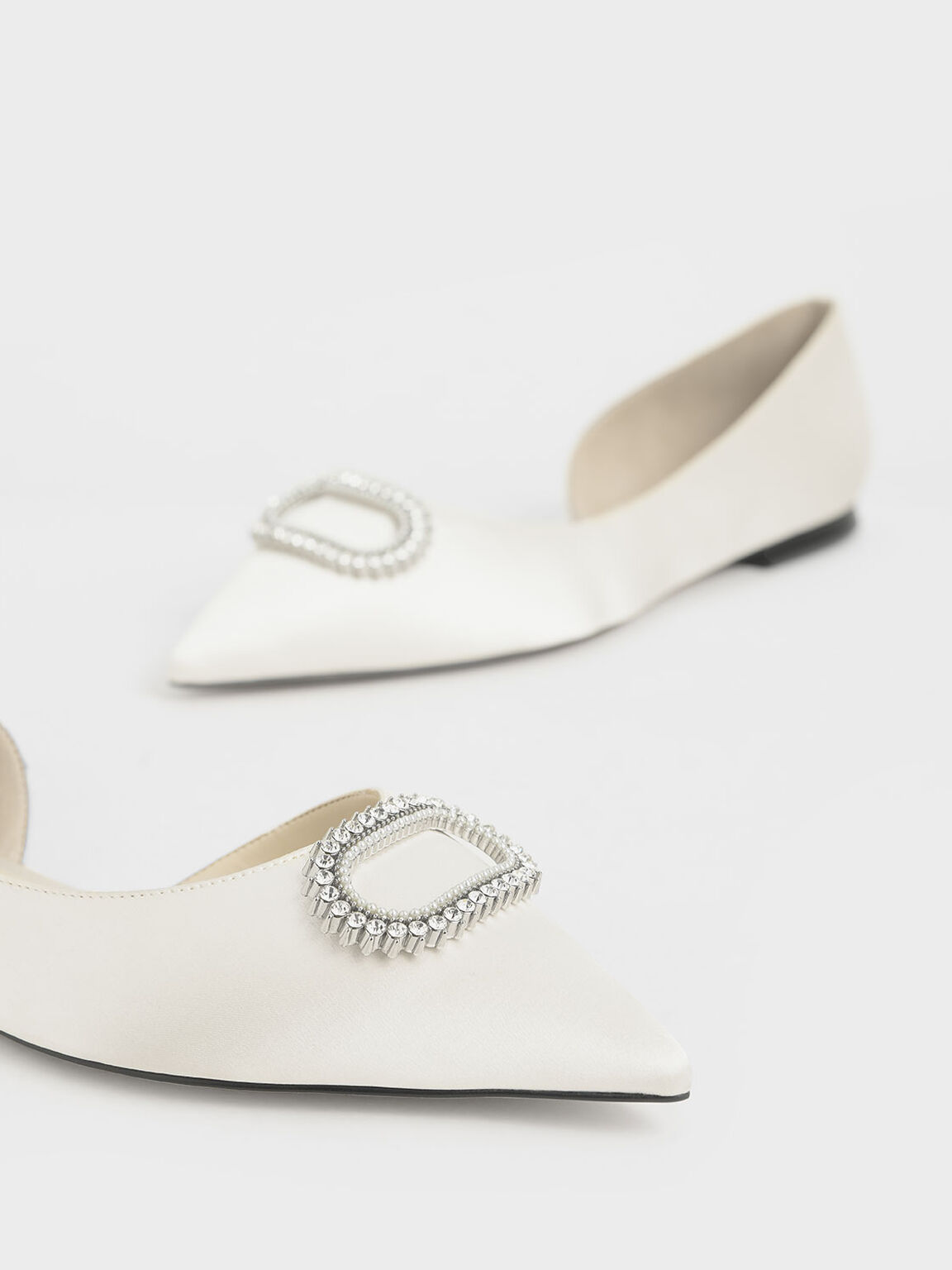 Wedding Collection: Embellished Satin Ballerina Flats, White, hi-res