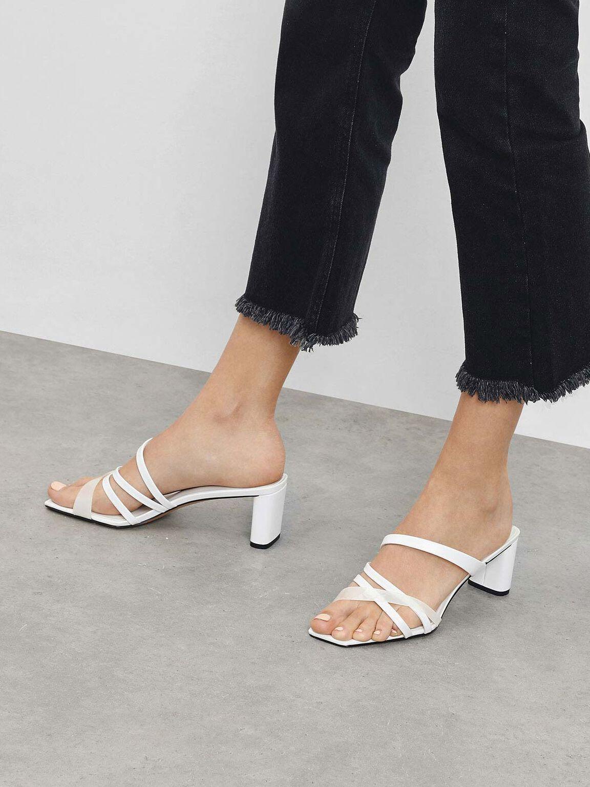 Strappy Slide Sandals, White, hi-res