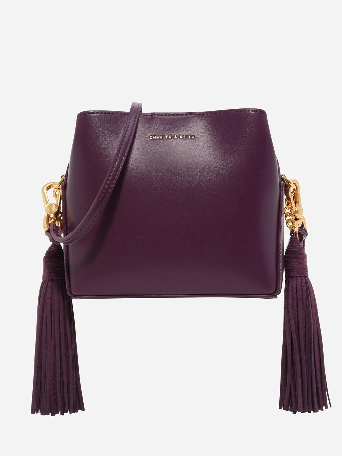 雙側流蘇肩背包, 深紫紅, hi-res