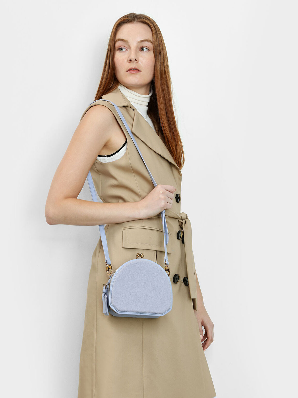 Geometric Structured Crossbody Bag, Light Blue, hi-res