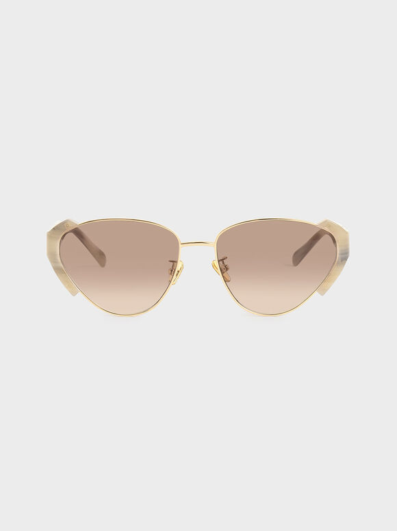 Acetate Striped Cat-Eye Sunglasses, Cream, hi-res