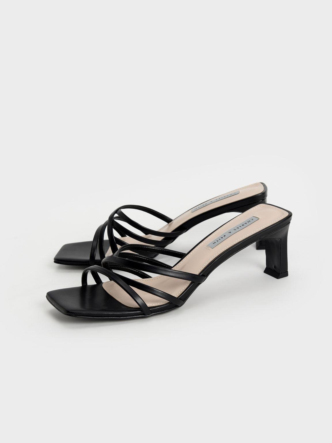 Asymmetric Strappy Sandals, Black, hi-res