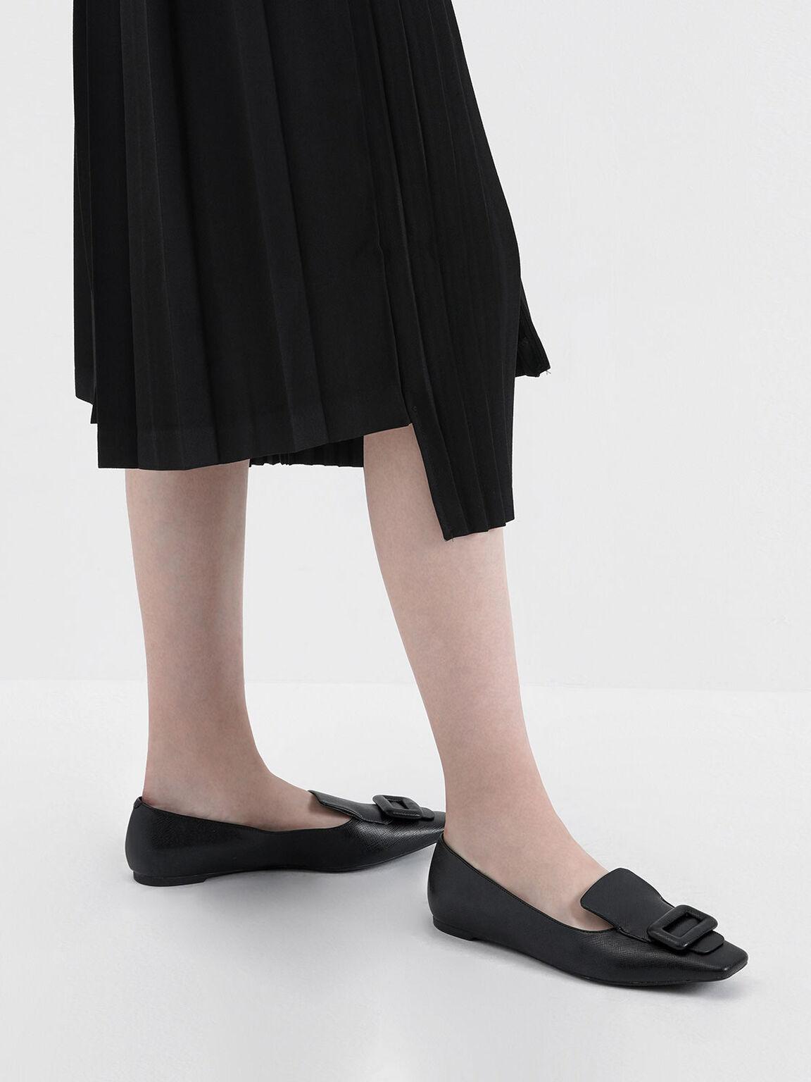 方扣樂福鞋, 黑色, hi-res