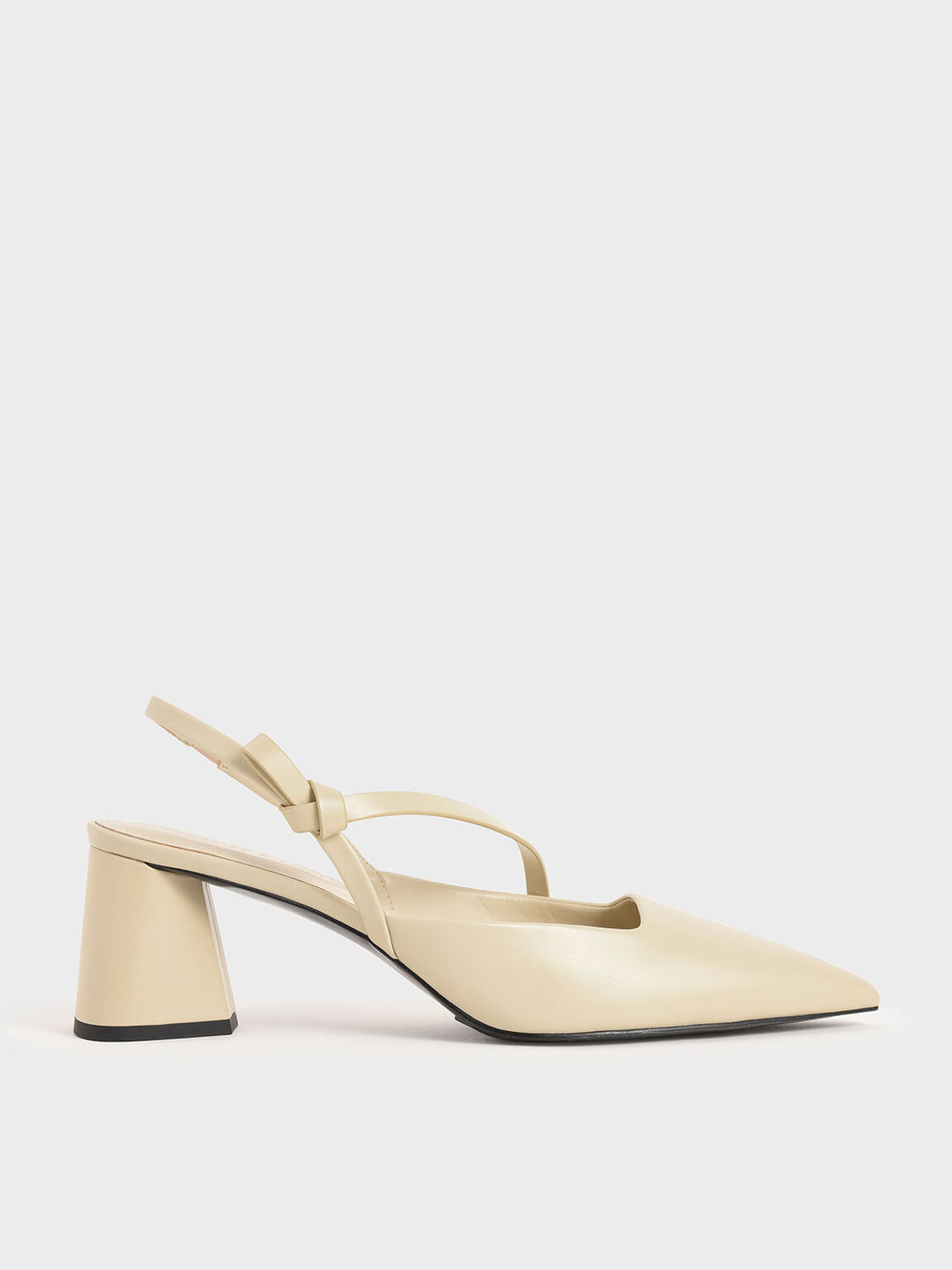 Asymmetric Strap Slingback Pumps, Chalk, hi-res