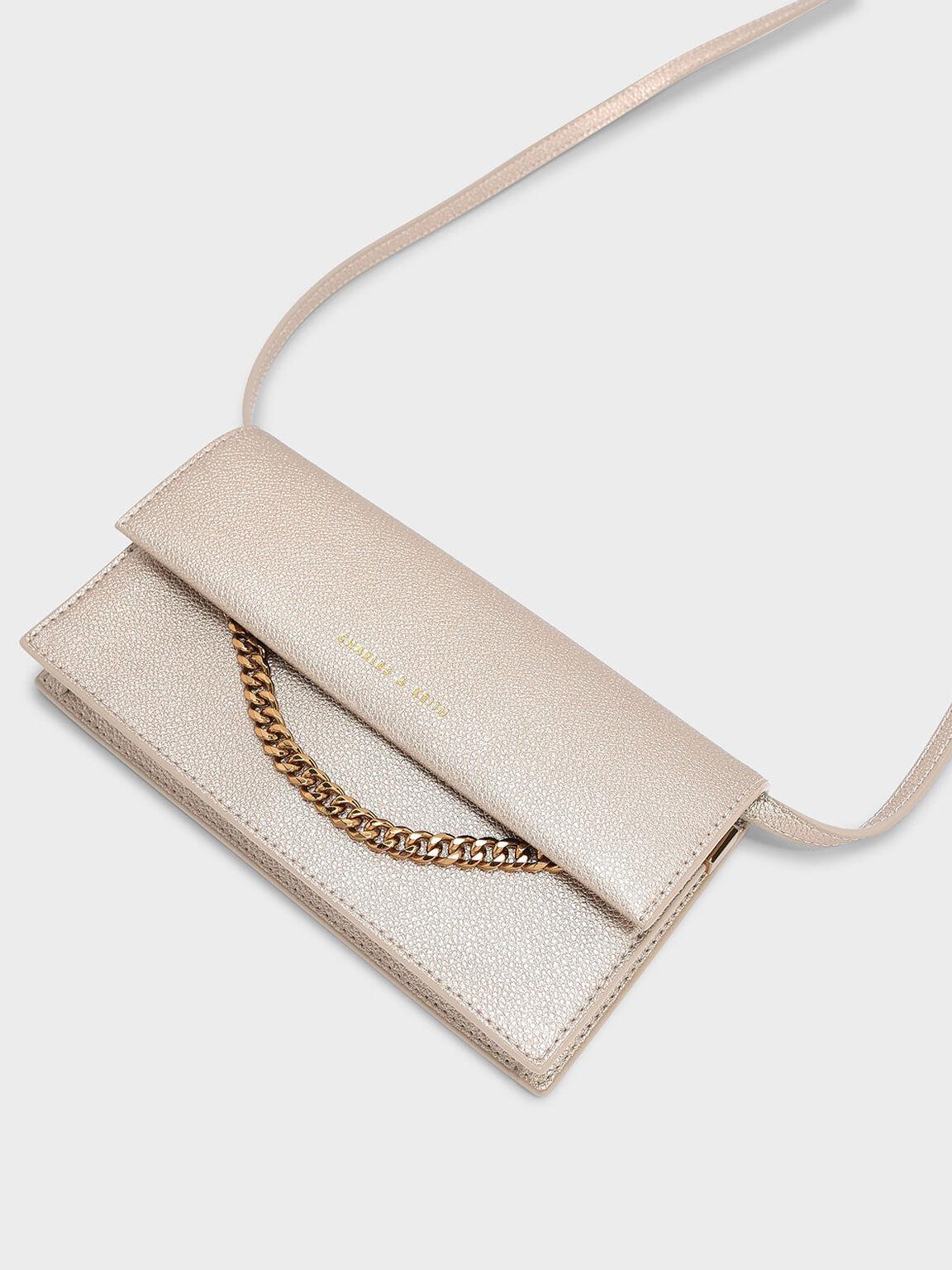 Chain Detail Wallet, Rose Gold, hi-res